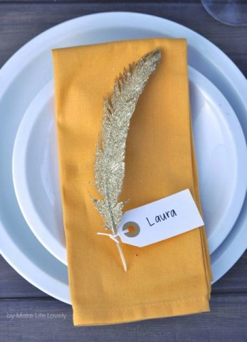Glittered feather place card