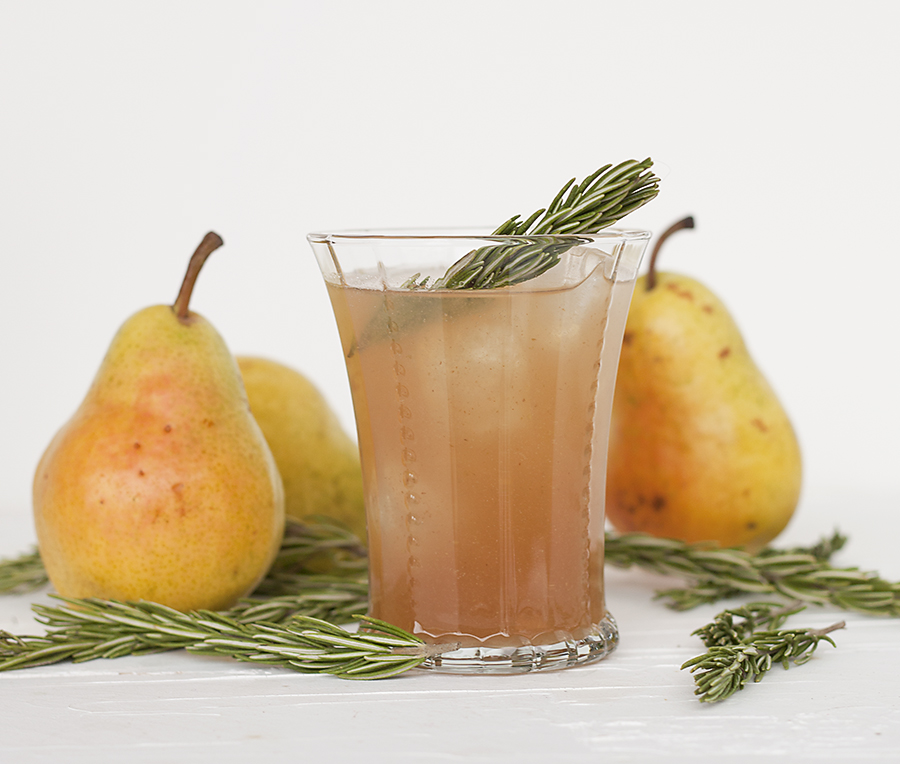 pear rosemary mocktail, holiday mocktails