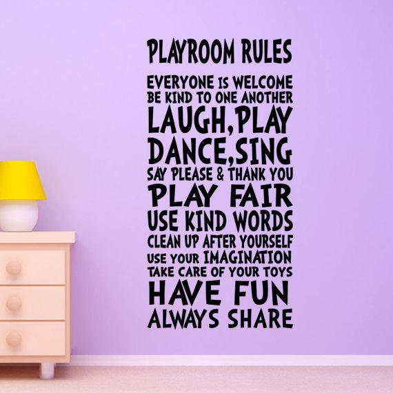 Playroom Rules Wall Decal