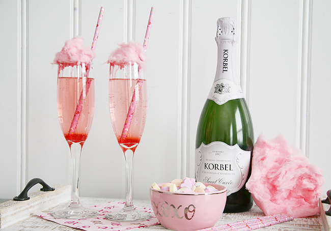 Cotton Candy Champagne for Valentine's Day