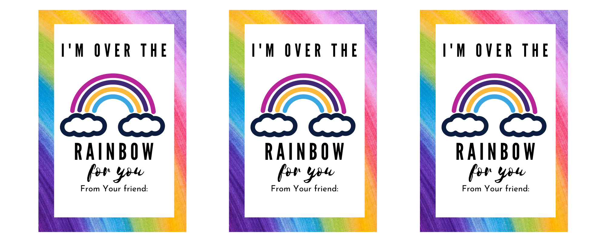 Rainbow free printable valentine cards