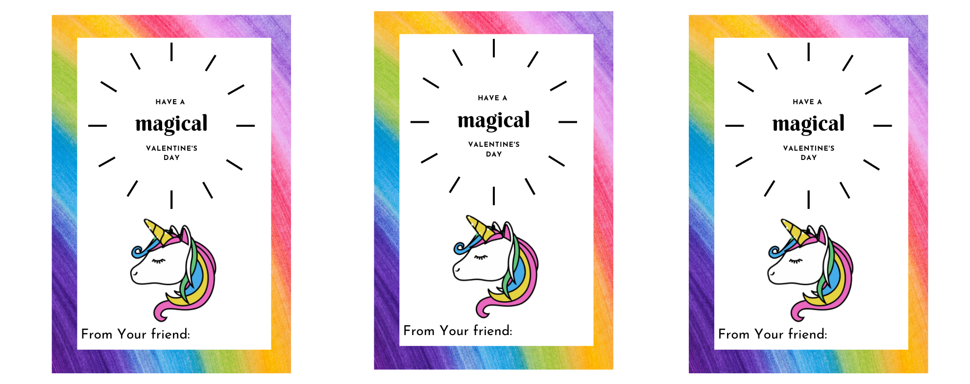 Free Unicorn Printable Valentines cards