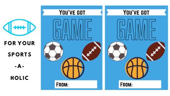 Valentine's day cards for the sports-a-holic